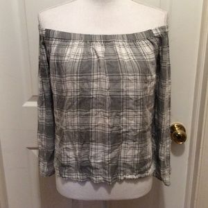 Cloth & Stone Top S Gray White Plaid Off Shoulder